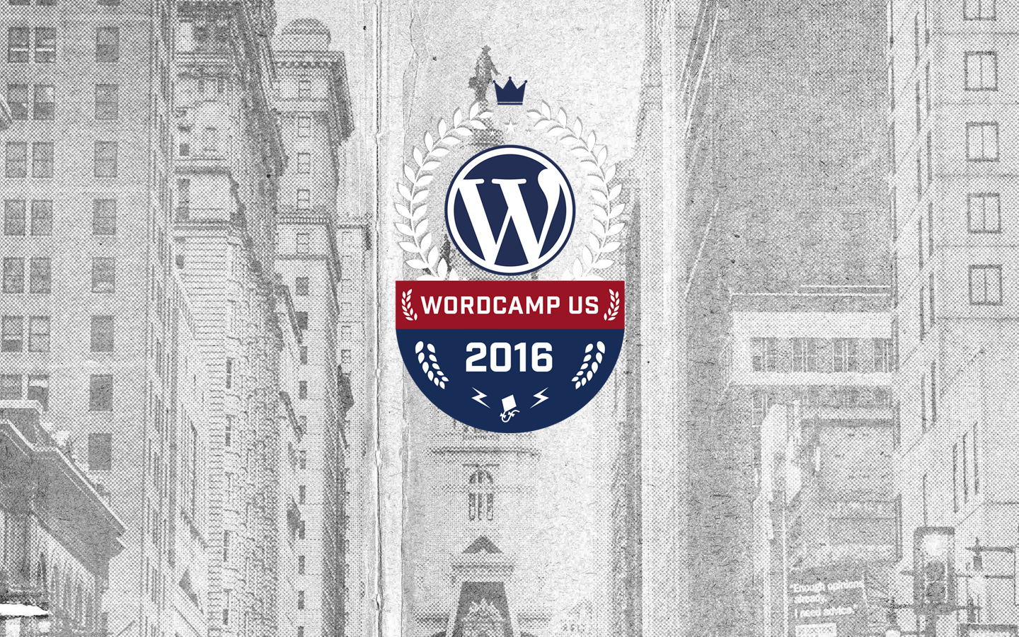 WordCamp US 2016 Logo Over a balck and white image of Philadelphia, PA